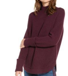 Basil & Turmeric | Women's Treasure & Bond Mock Neck Sweater, Size XX-Small - Burgundy