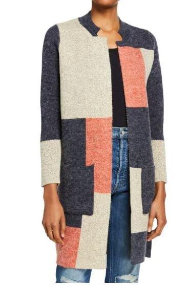 Basil & Turmeric | Neiman Marcus Colorblock Long Cardigan