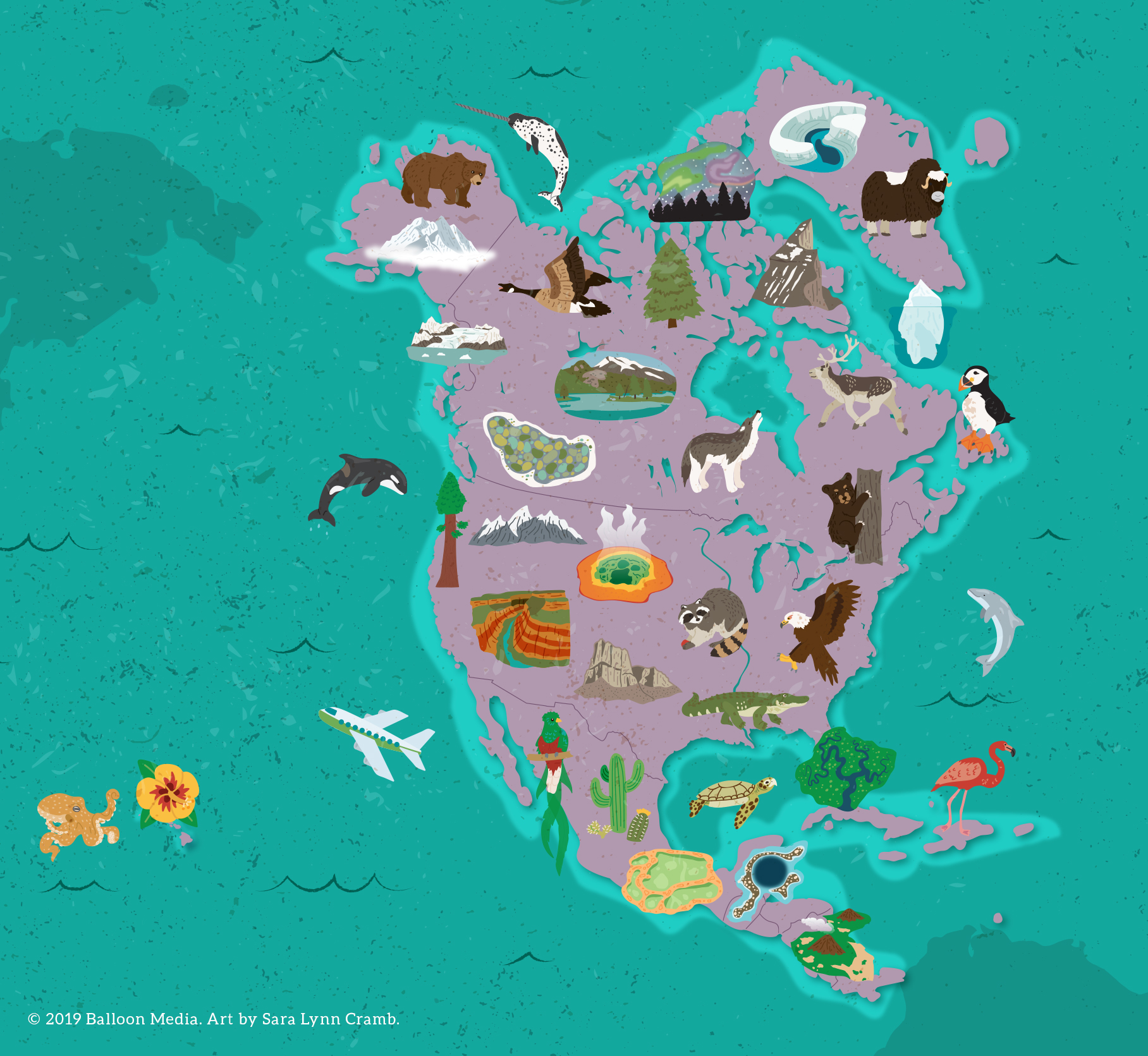 Nature map of North America