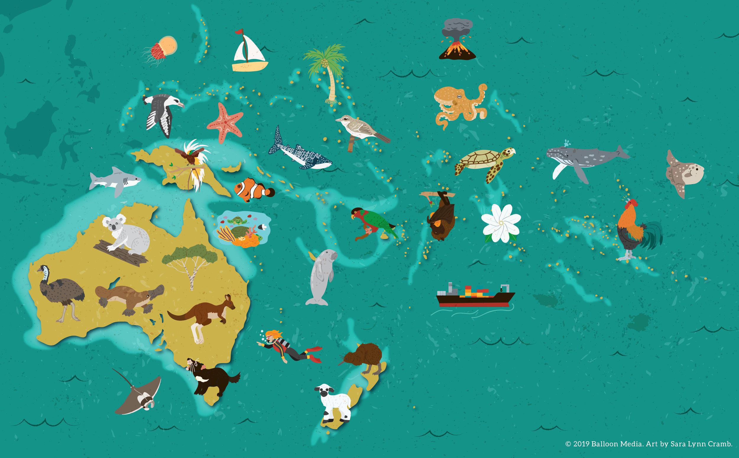 Animal map of Oceania