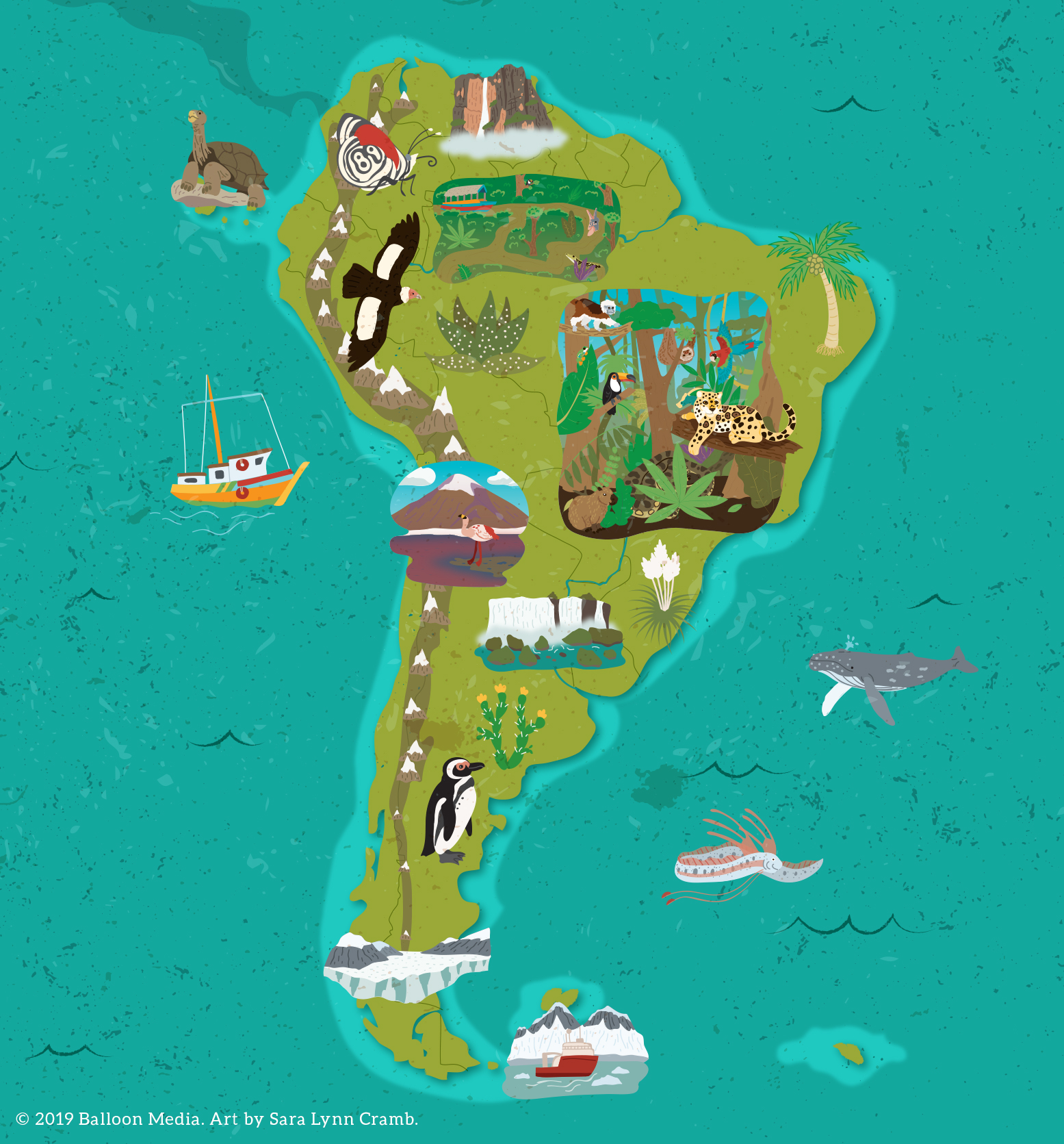 Animal map of South America
