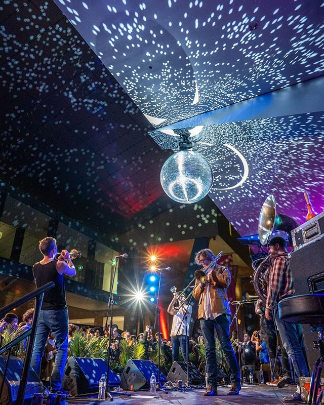 Amazing photo from @kateyshearer at @melbournemuseum for @melbjazzfestival . . .  #jazz #melbourne #museum #nocturnal #brass #brassband #fun #party #funk #soul #trumpet #trombone #sousaphone #hornsofleroy #yamaha #photo #photography #kateyshearer #mijf #neworleans