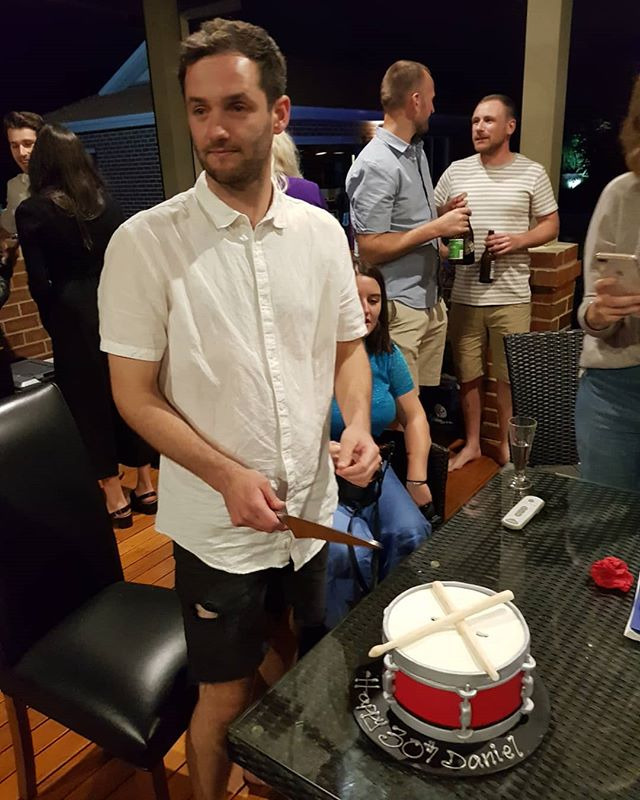 Happy 30th Birthday to our little drummer boy Daniel! Cool cake!!! @dan.berry . . .  #cake #drums #30 #birthday #party #friends #hornsofleroy #horns #buddies