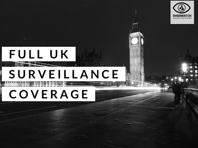 We can deploy surveillance operatives anywhere in the UK,  Find out more at www.overwatchinvestigations.co.uk