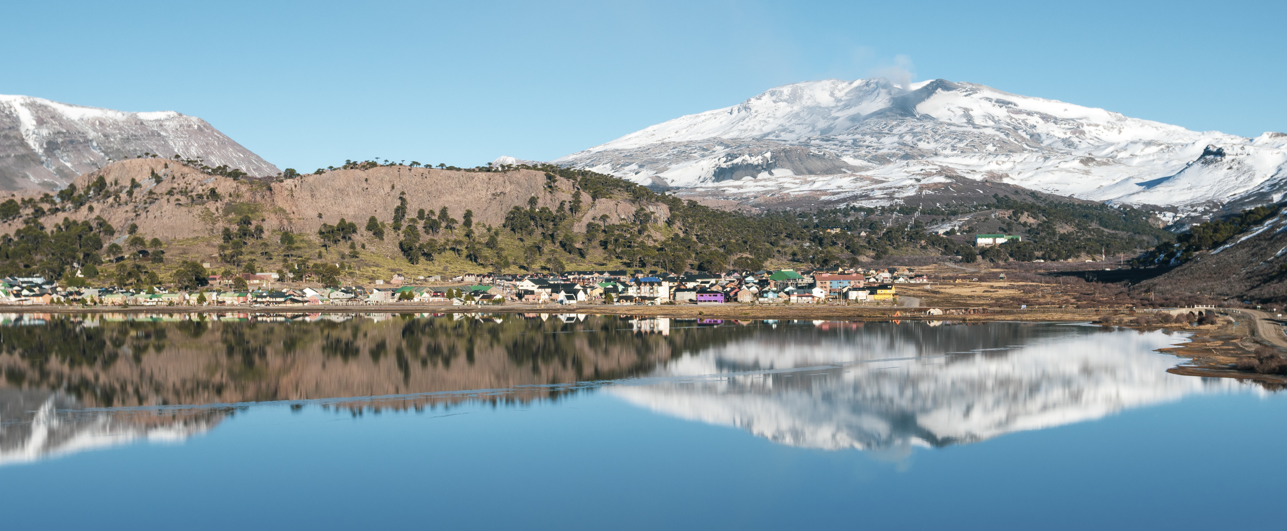 The town of Cavihavue at the base of Volcan Copahue.