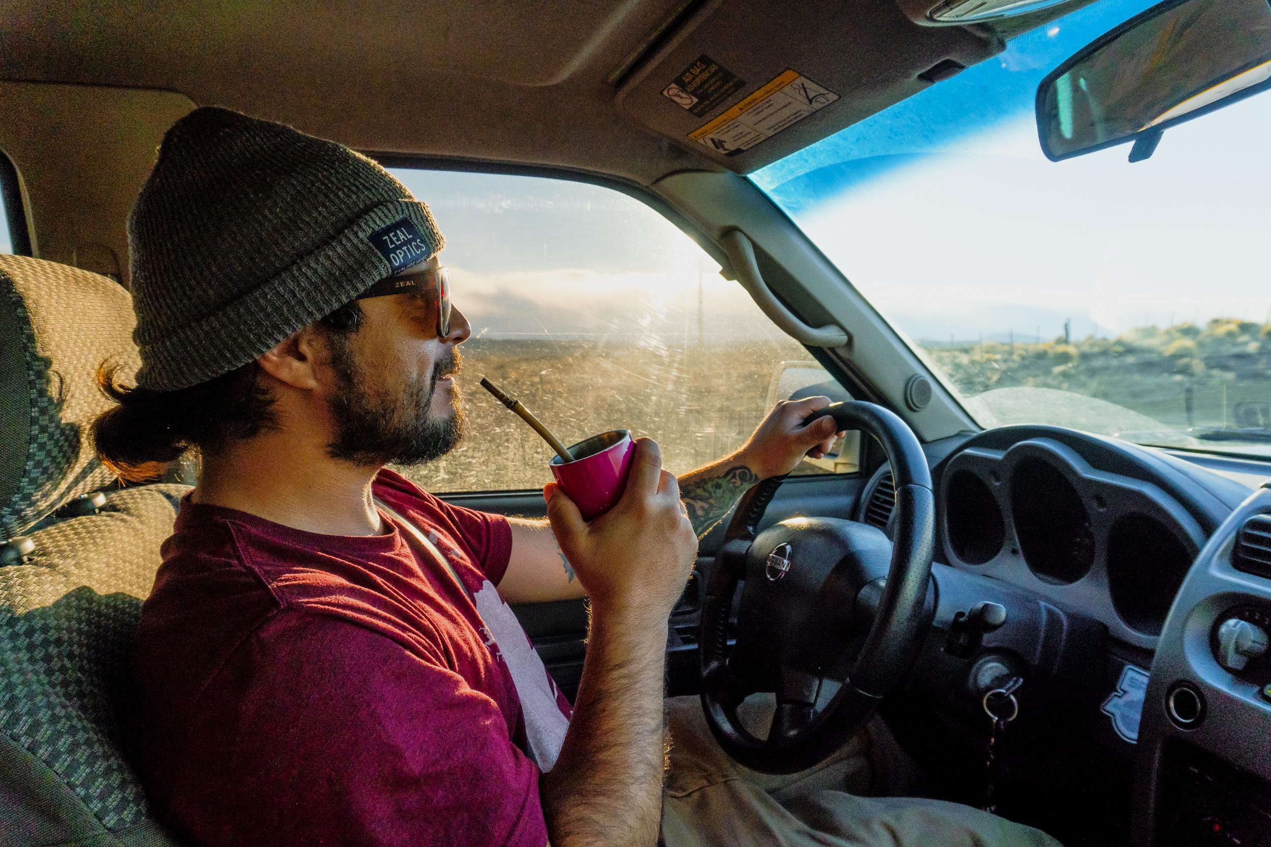 Mauri enjoying a maté on the road.