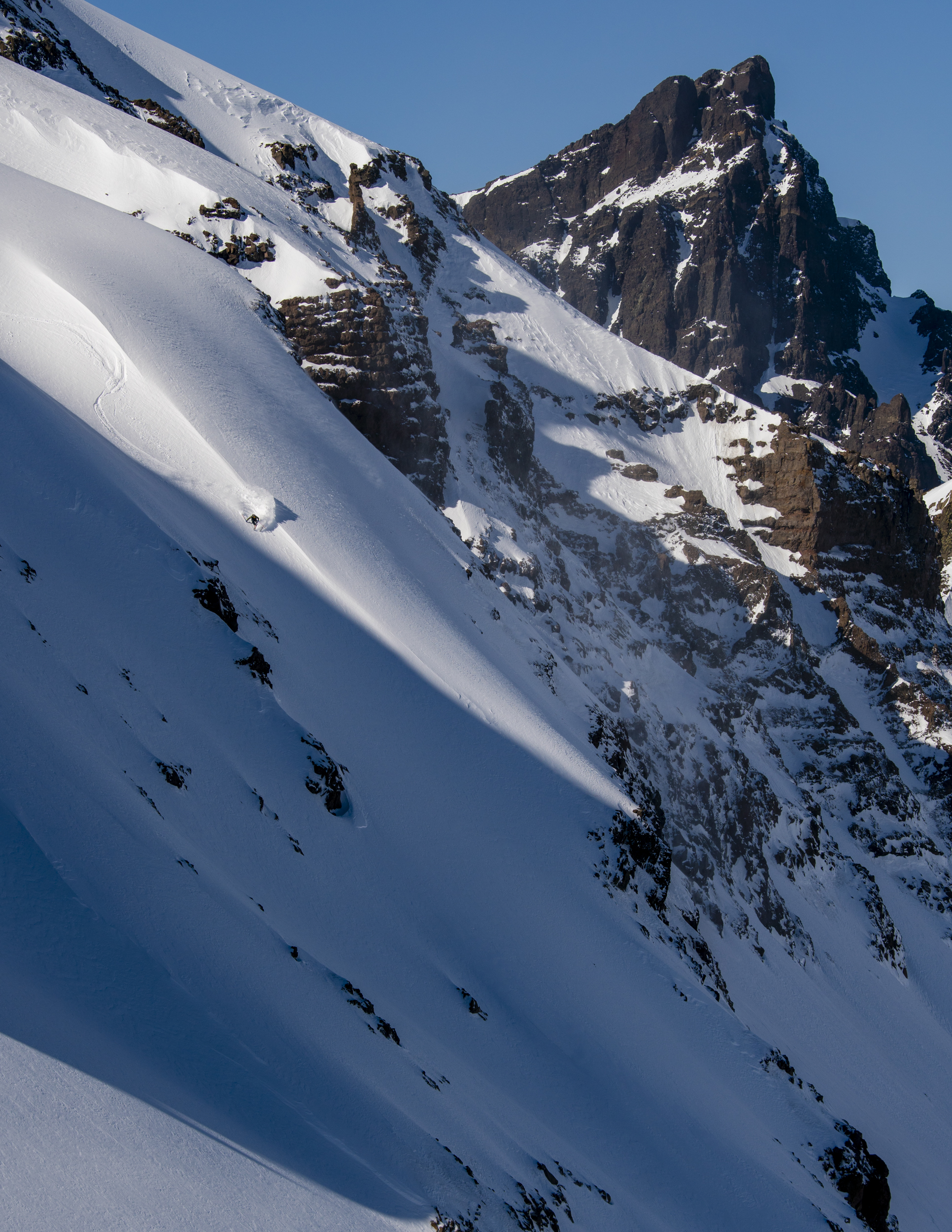 After a technical approach to the line Mauri was rewarded with the best snow of the trip.