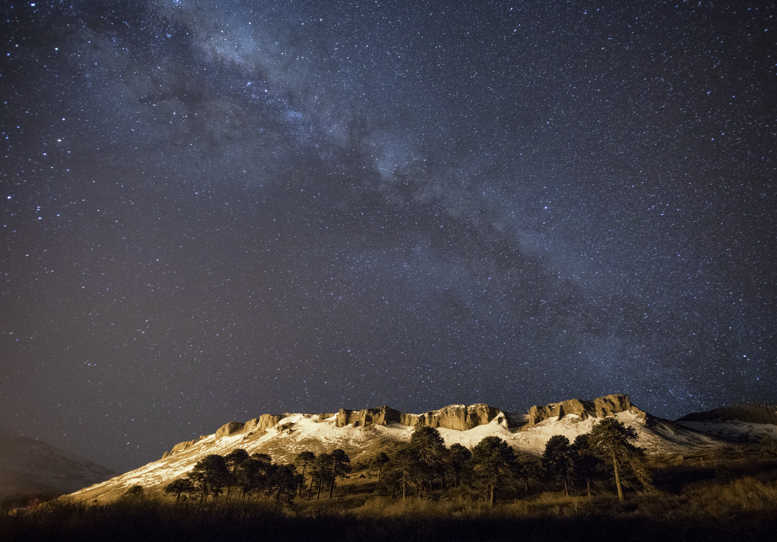 The Milky Way above some really cool terrain that we did not ride.