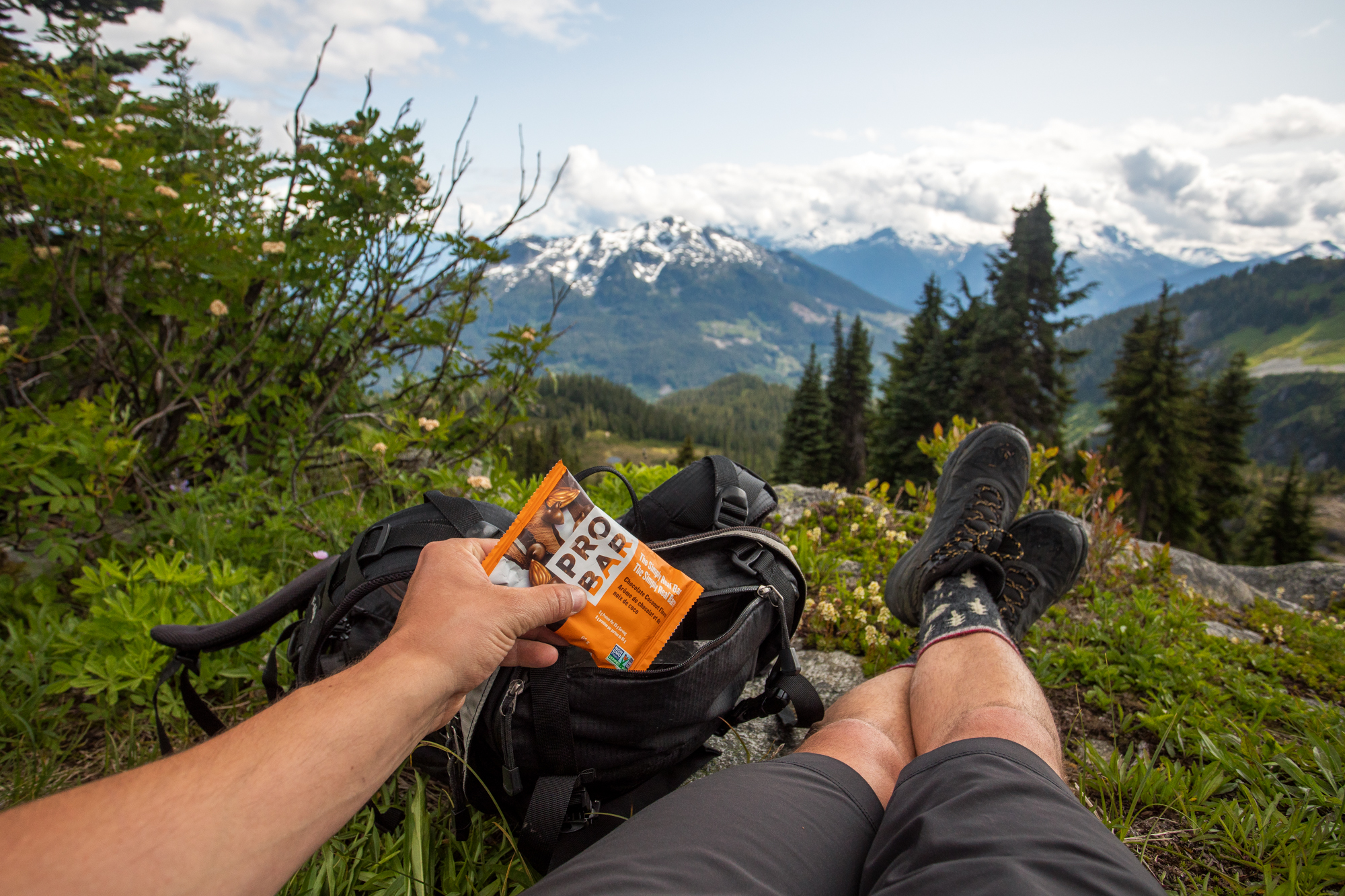 Taking a break, enjoying a ProBar. A little snack to keep me going.