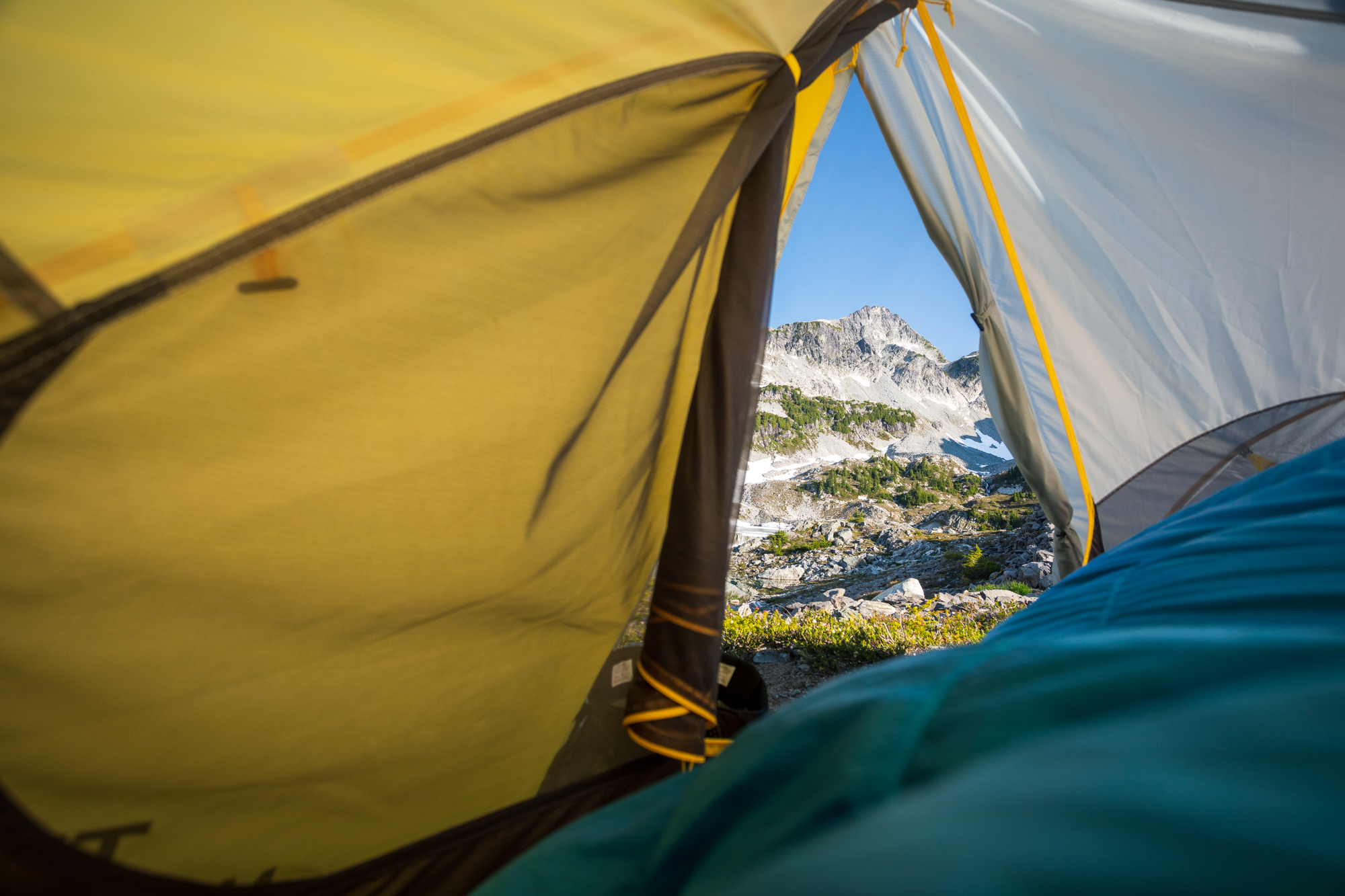 Never a bad time to look out your tent door and see this view.