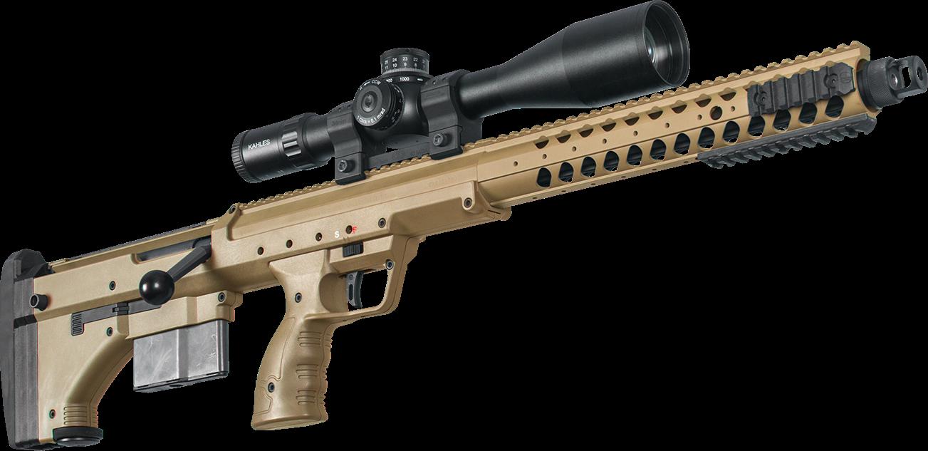 Desert Tech SRS A1 - (LAW Enforcment and Military only)Die SRS A1 (SRS = Stealth Recon Scout) wurde entwickelt da die meisten modernen Hochleistungs-Präzisionsgewehre extrem vorderlastige, sehr lange und dadurch unhandliche Waffen sind. So sind diese zwar sehr gut, wenn sie auf dem Zweibein stehen, aber das Führen oder der Transport ist meist suboptimal.Die Waffen der SRS Serie hingegen kann man fast wie eine AR15 halten und führen, haben eine viel bessere Gewichtsverteilung und büßen dabei nichts an Präzision und Zuverlässigkeit ein.Auch wenn sie für den Behördenmarkt konzipiert ist, so ist die SRS Serie auch optimal für das sportliche Long Range Schießen und dank ihrer kompakten und mobilen Bauweise auch für die Jagd geeignet.Die Desert Tech SRS A1 ist ebenfalls