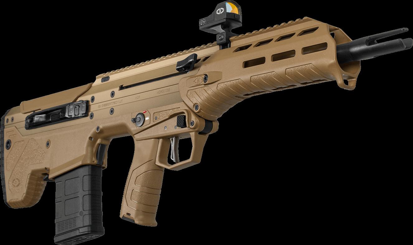 Desert Tech MDR - Das MDR (MDR = Micro Dynamic Rifle) ist Desert Techs erstes Selbstladegewehr und natürlich musste auch dieses innovativ sein. Zielsetzung war es die Vorzüge der SRS und HTI Serien auch in der MDR Serie nutzen zu können.- hohe Mobilität - volle beidseitige Bedienbarkeit- hohe Ergonomie - störungsfreier Betrieb mit Schalldämpfer- Wiederhohlgenaue LaufwechselfunktionUnd genau dies konnte auch umgesetzt werden. Das mit 66,5 cm extrem kurze System wartet trotzdem mit einem 16 Zoll Lauf auf und kombiniert somit geringe Länge mit hoher Leistung.Die einstellbare Gasabnahme des Kurzhub Gasdruckladers (shortstroke Piston System) ermöglicht die Verwendung von diversen Schalldämpfern.Der Hülsenauswurf ist nicht nur werkzeuglos von links auf rechts umsetzbar, sondern die Hülsen werden durch ein spezielles System nach vorne ausgeworfen was die Waffe auch beim Schulterwechsel problemlos bedienbar macht.Darüber hinaus sind alle Bedienelemente beidseitig angebracht.Durch das aus der SRS und HTI Serie entliehene, Drehmoment basierende Laufwechselsystem ist auch die MDR