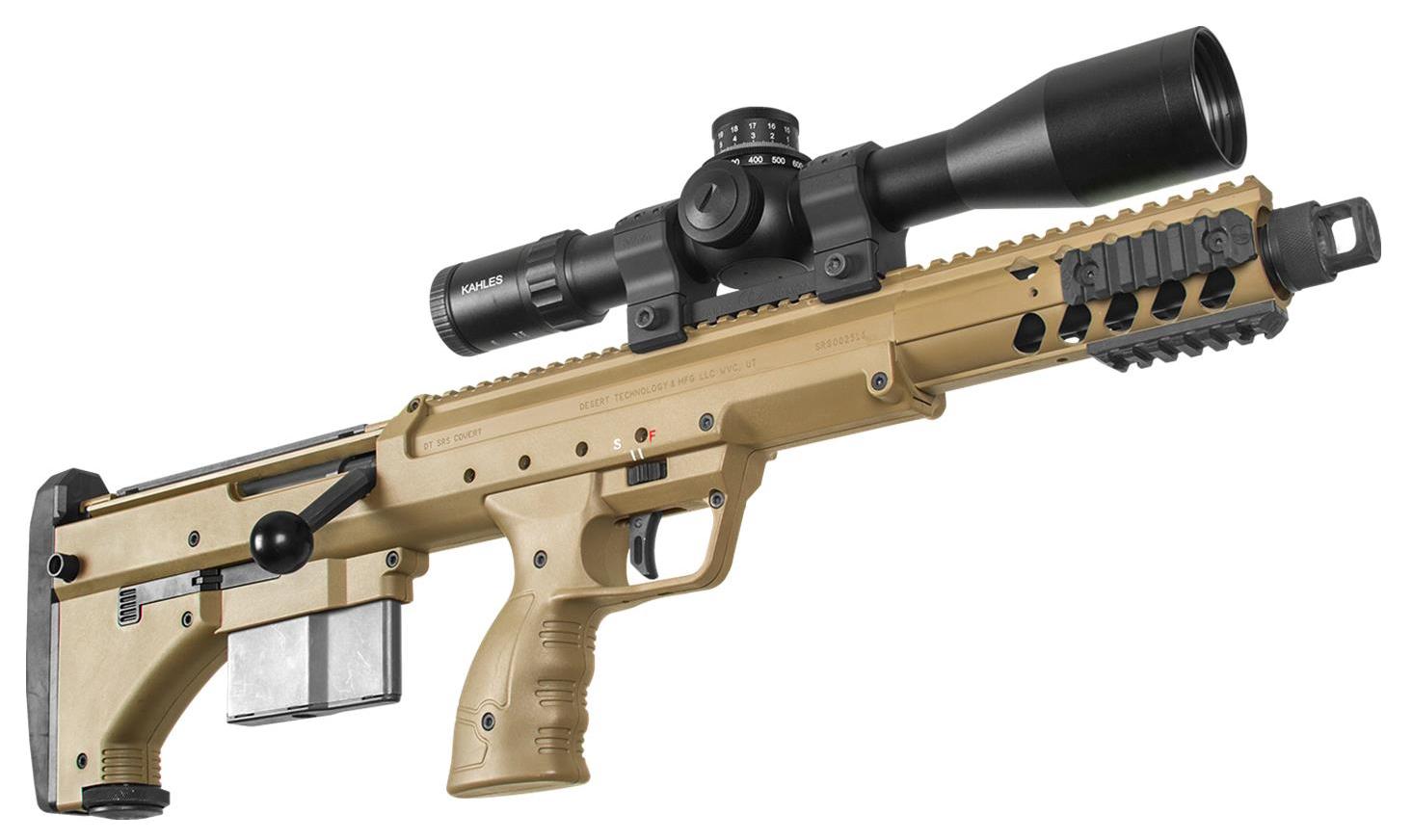 Desert Tech SRS A1 Covert - (LAW Enforcment / Military Only)Die SRS A1 Covert (SRS = Stealth Recon Scout) ist das kompakteste Scharfschützengewehr von Desert Tech. Sie wurde für Polizei- und Militärscharfschützen entwickelt, die eine minimale Sichtbarkeit bei größter Manövrierfähigkeit benötigen.Es kombiniert die besten ergonomischen Eigenschaften mit Genauigkeit. Mit einer Gesamtlänge von gerade einmal 68,5 cm ist die SRS A1 Covert wesentlich kürzer als ein gewöhnliches Scharfschützengewehr.Auch wenn sie für den Behördenmarkt konzipiert ist, so ist die SRS Serie auch optimal für das sportliche Long Range Schießen und dank ihrer kompakten und mobilen Bauweise auch für die Jagd geeignet.Die Desert Tech SRS A1 Covert ist ebenfalls