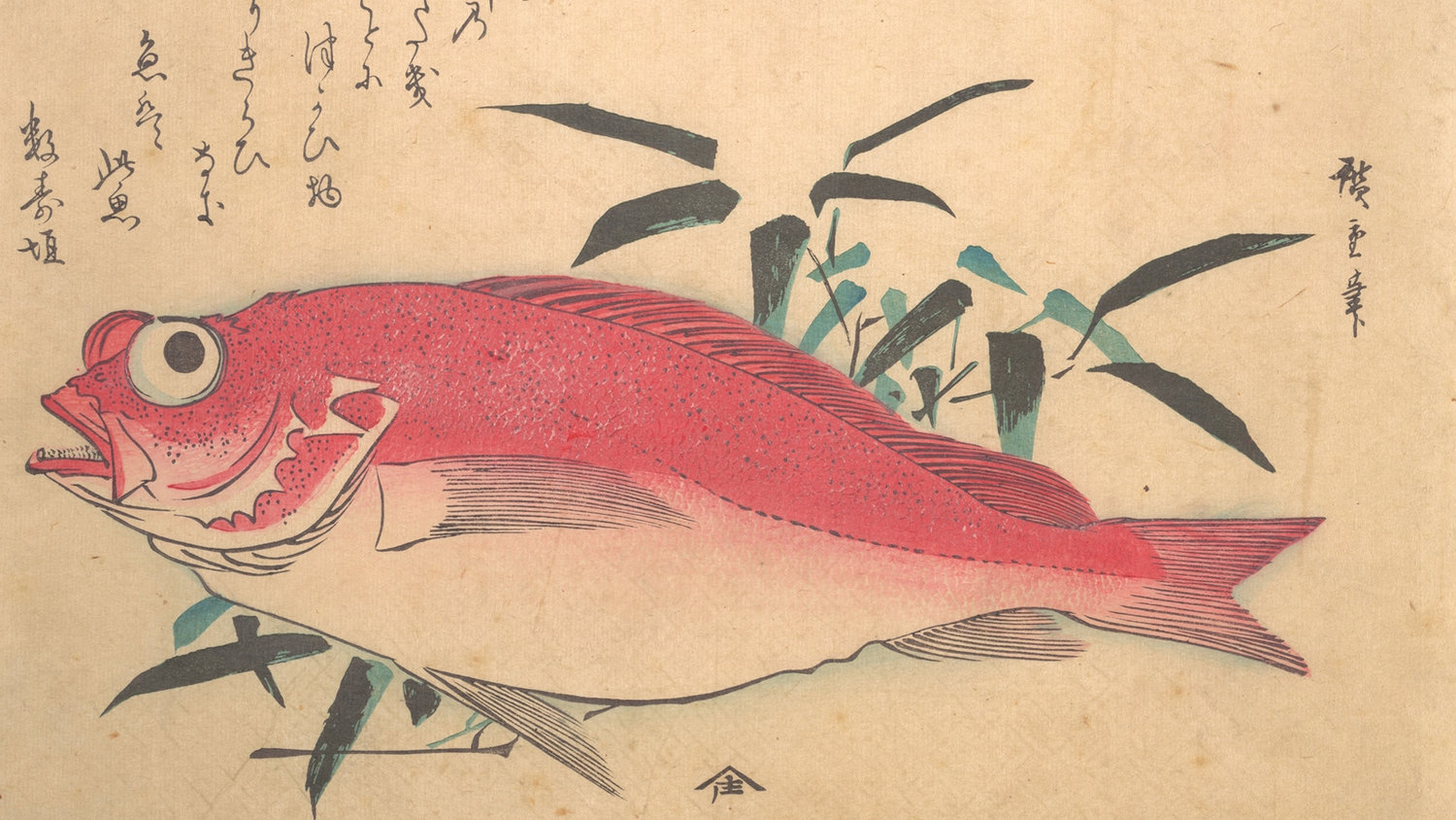 Medetai Fish and Sasaki - Utagawa Hiroshige (Japan)1840 Edo periodThe Met CollectionPolychrome woodblock print / ink and color on paper / 25,4 x 37,2 cmCourtesy of Mr. and Mrs. Bryan Holme
