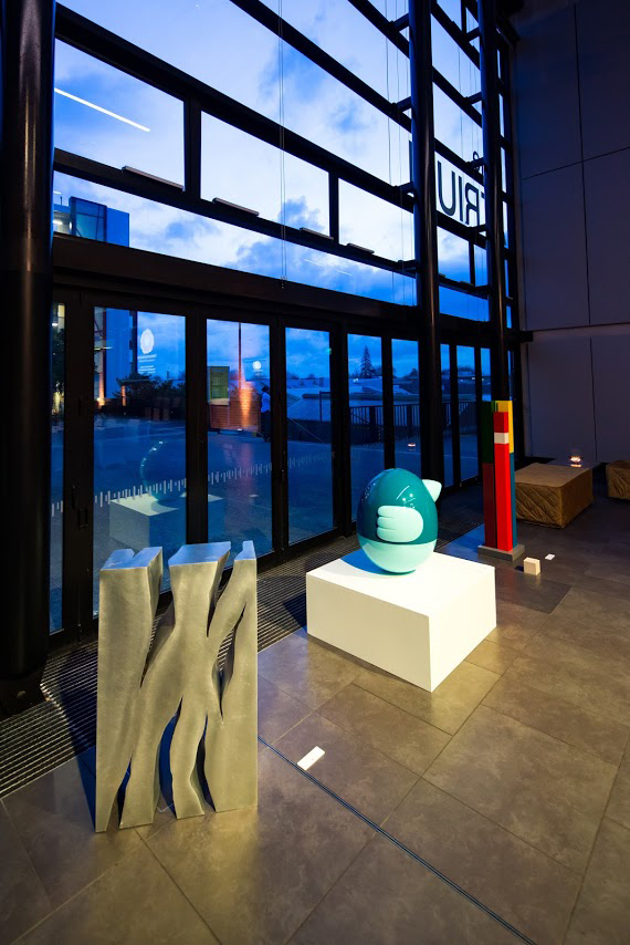Wintec   David McCracken,  Portrait of Mass and Light , 2013, Welded aluminium, 800 x 500 x 200mm. Seung Yul Oh,  oioio (sky blue with light blue base and trims) , 2010, fibreglass and two-pot automotive paint, 700 x 600mm. Michael Parekowhai,  Atarangi (Maquette for Te Tuhi) , 2004, Two-pot automotive paint and aluminium, 1400 x 230 x 230mm.
