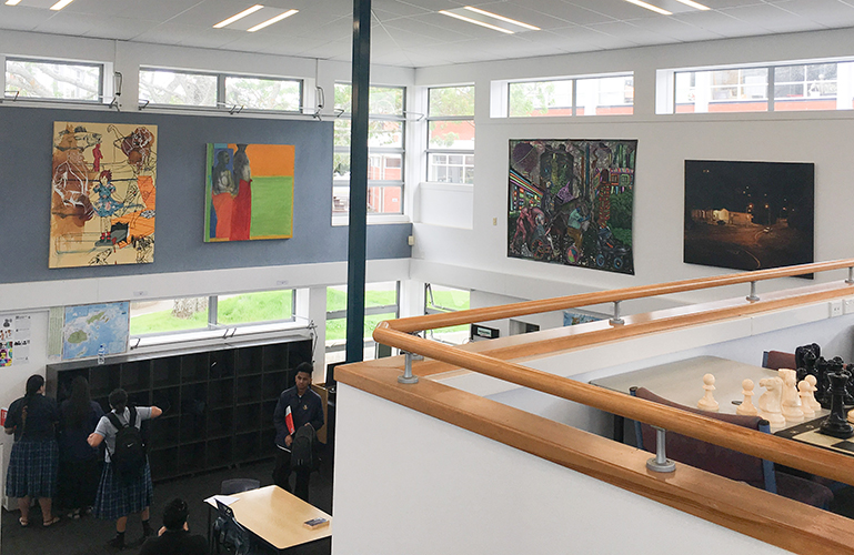 Otahuhu College   Daniel McLaren,  Untitled , 1994, oil and shellac on canvas, 1800 x 1300mm.  Kyle Yao,  Figure with colour Composition , Charcoal and oil on canvas, 1340 x 1250mm. Kenneth Merrick,  Foible , 2015, mixed media on canvas, 1700 x 2300mm. Sam Foley,  Intersection , Canongate and Maori Road, 2008, oil on canvas with digital projection, 1120 x 1600mm.