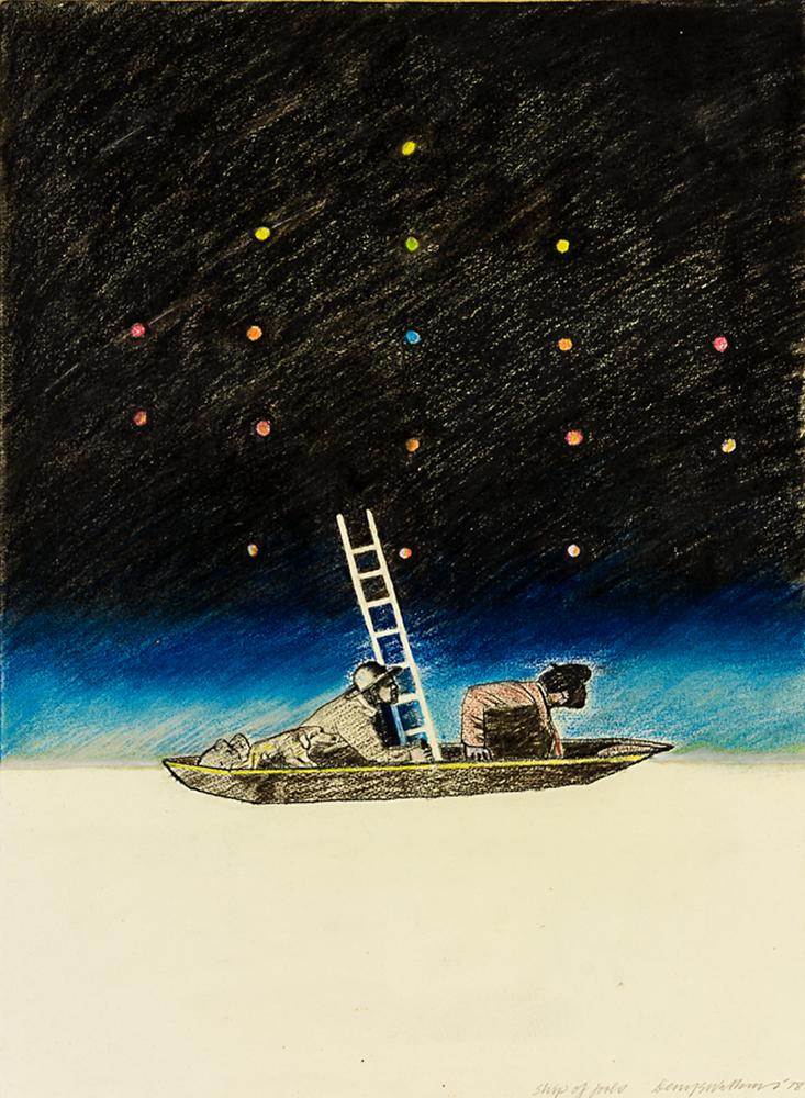Denys Watkins,  Ship of Fools , 1978, Oil pastel on paper, 800 x 615mm (framed)
