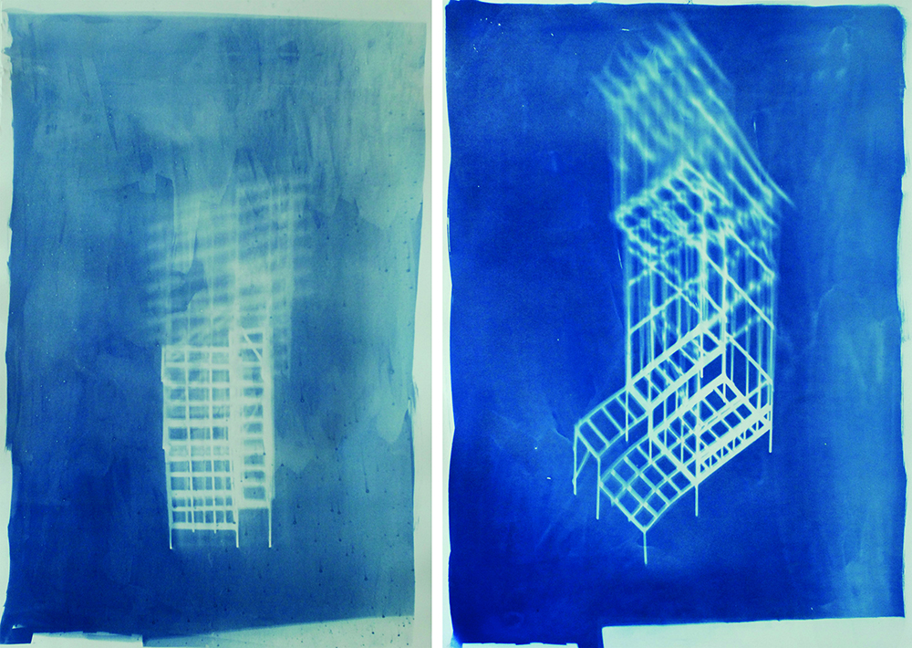 British School at Rome Wallace New Zealand Residence Award  Wendelien Bakker,  House Plan: Blueprint of sun hitting from South West, Winter afternoon , 2019, Cyanotype on Bristol 300gsm, 645 x 1000mm and  House Plan: Blueprint of sun hitting from North West, Early Winter afternoon , 2019, Cyanotype on Fabriano Designo 5 300gsm, 645 x 1000mm