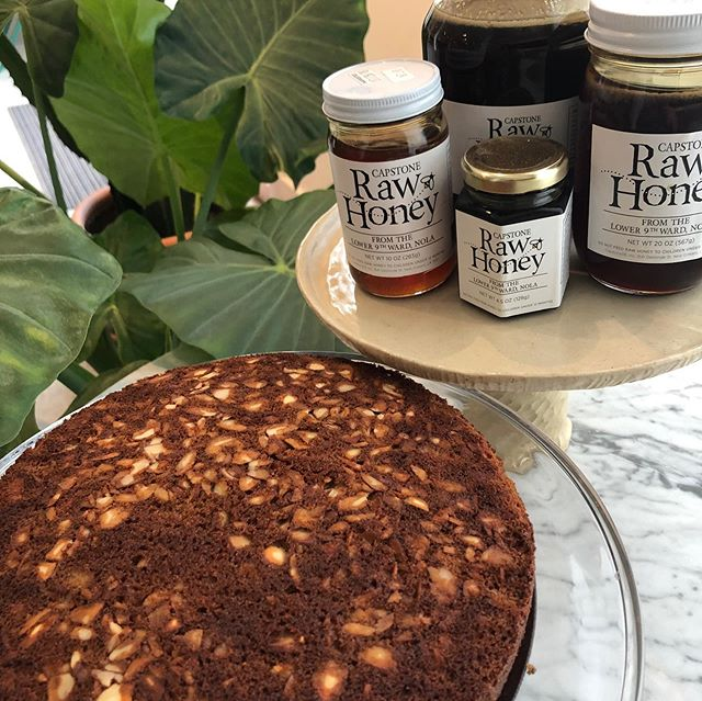 David w Capstone brought us more honey today so we rushed to make Honey Cake! Spiced w Cardamon, clove and cinnamon, perfect w a cup of coffee or tea