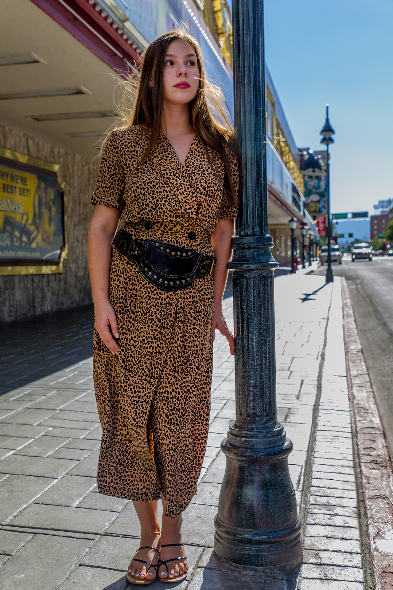Vintage Urban Safari - The Black Leather Sycamore Style Belt paired with vintage 80s silk leopard print dress.Shot in Reno, NVDress available at Lovingood Vintage