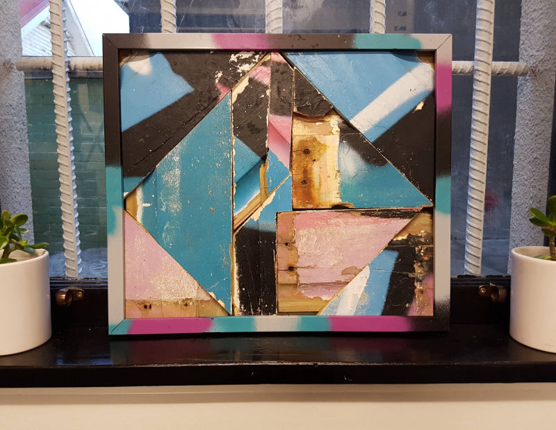 Upcycled graffiti weatherboard assemblage in frame #2 Dimensions: 450mm x 380mm. Price: $250