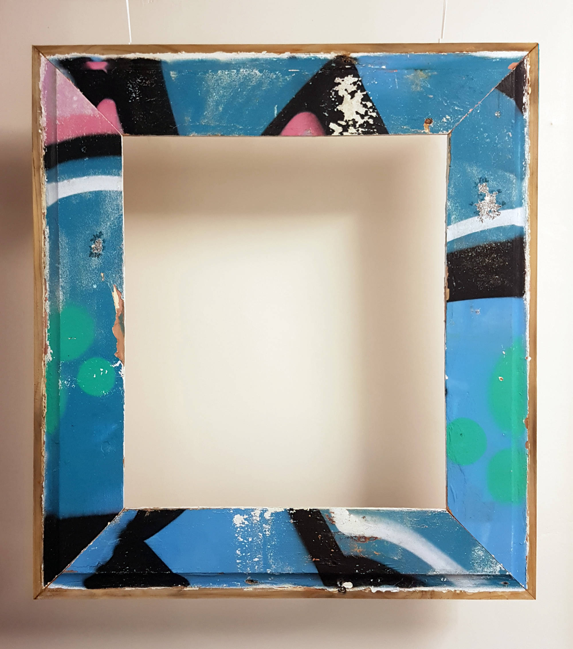 Medium upcycled graffiti weatherboard frame (can be fitted with mirror/artwork/pinboard).  Dimensions: 800mm x 850mm. Price: $300 with mirror/$250 frame only