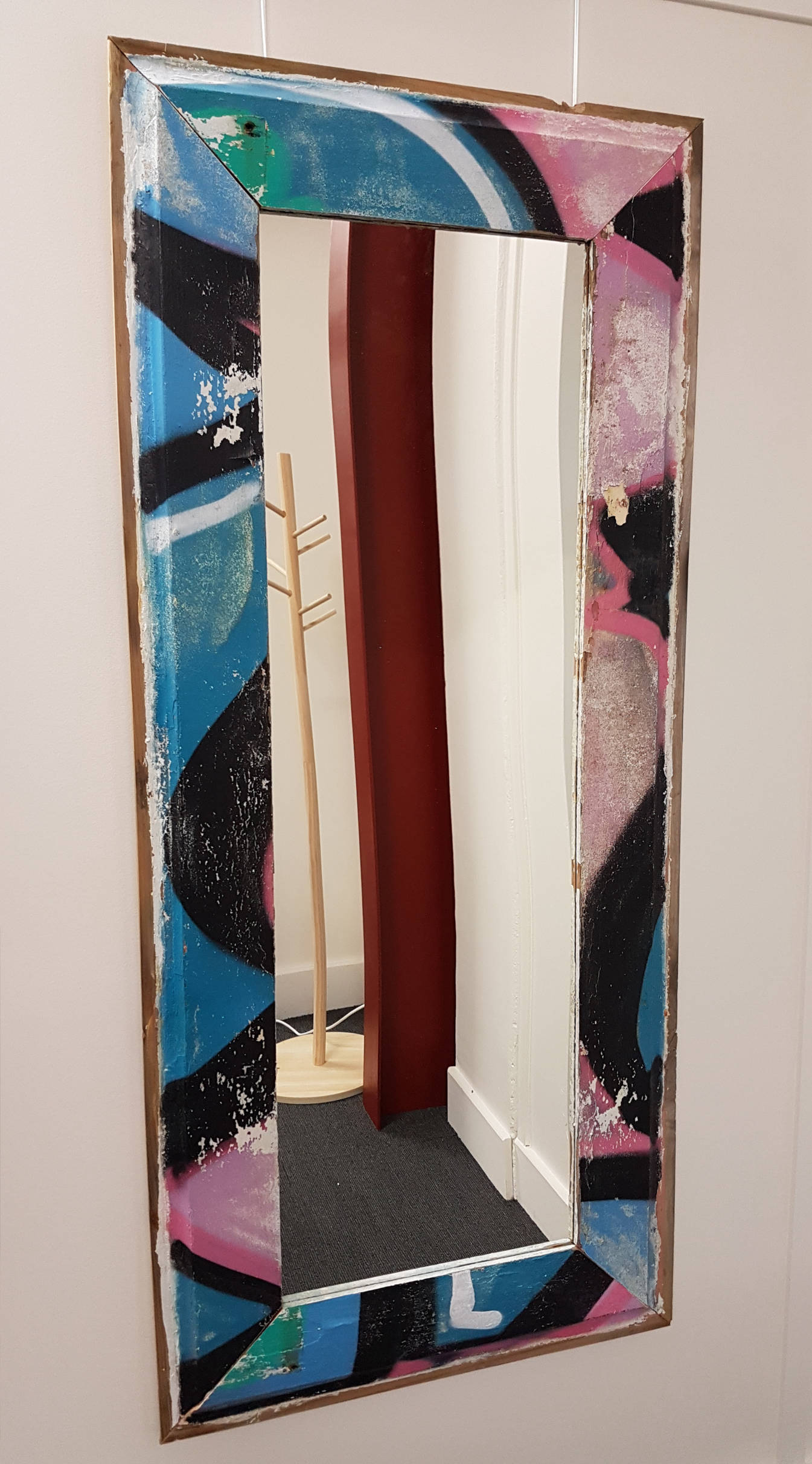 Large upcycled graffiti weatherboard framed mirror Dimensions: 640mm x 1455mm. Price: $350