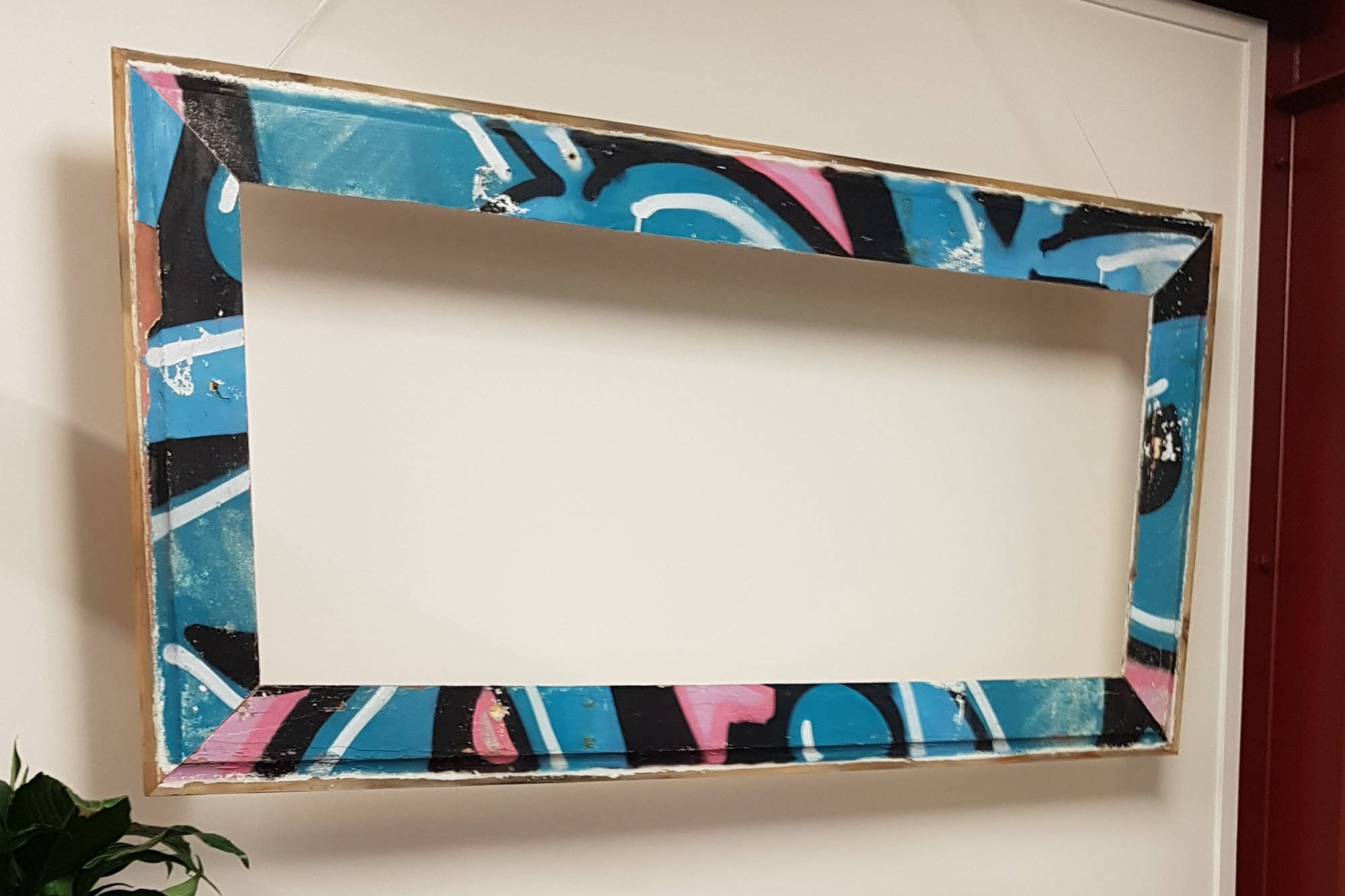 Large upcycled graffiti weatherboard frame (can be fitted with mirror/artwork/pinboard) Dimensions: 1720mm x 800mm. Price: $400 with mirror/$300 frame only