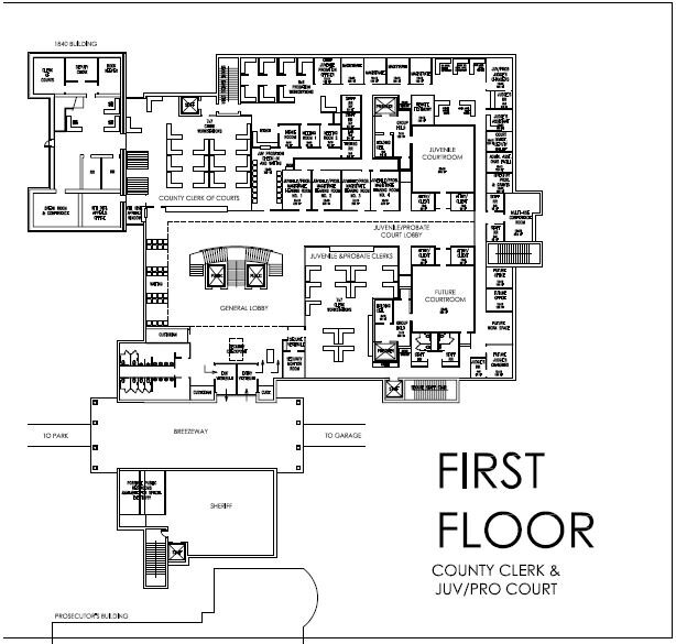 County Clerk of Courts    Juvenile and Probate Court  – total square footage 14,415 (this includes future use courtroom and support spaces)