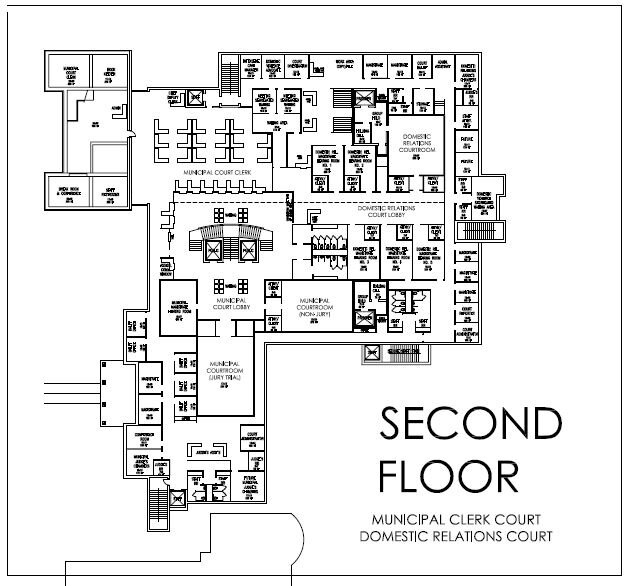 Municipal Court  – total square footage 16,480 (probation will be in new portion of the lower level +/-3,000 sf)   Domestic Relations Court  – total square footage 12,125