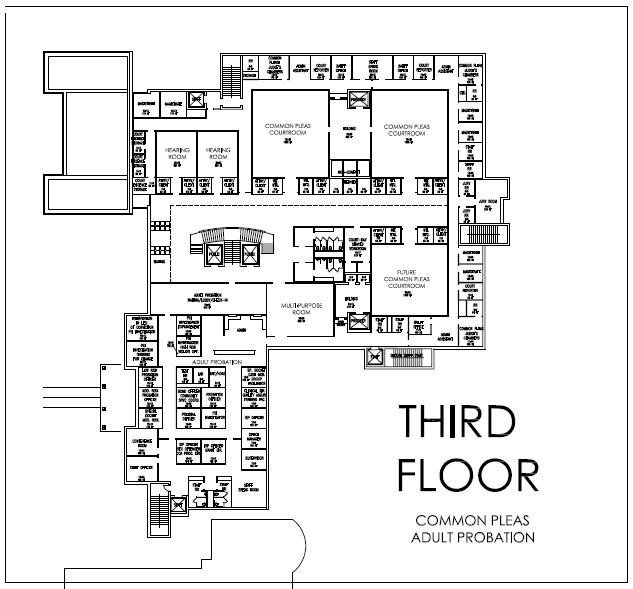 Common Pleas Court  – total square footage 15,800 (this includes future use courtroom and support spaces)   Adult Probation  - total square footage 8,060
