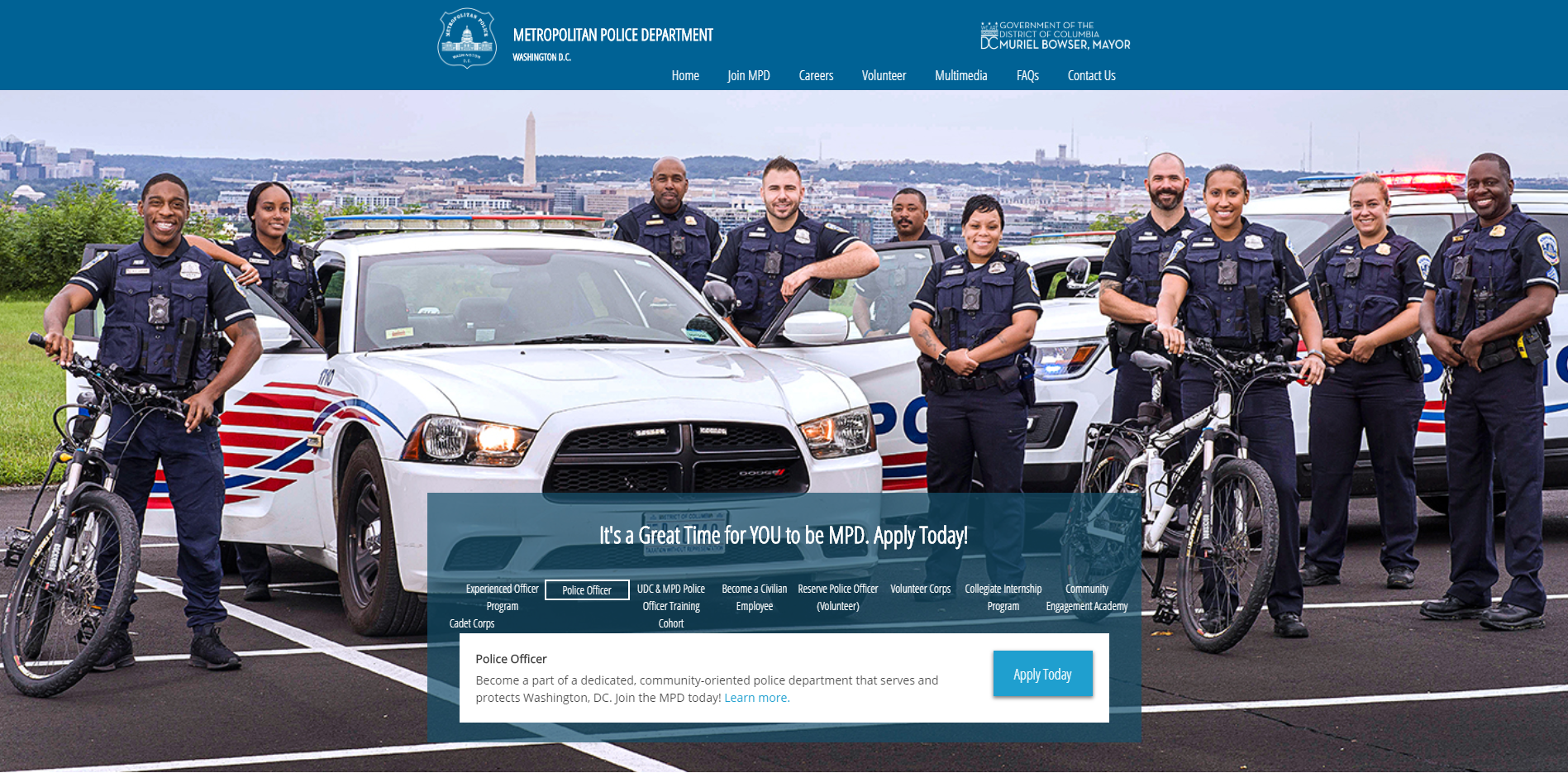 The homepage of the new MPD recruitment website,  joinmpd.dc.gov .
