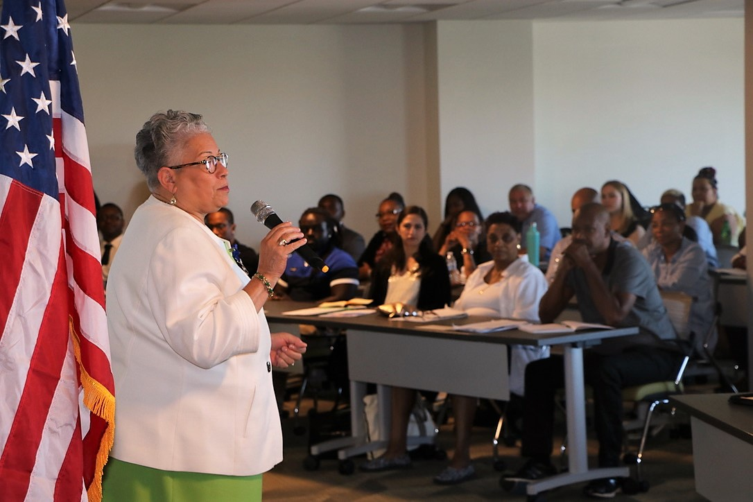 On their first day working for the District government, new employees attend orientation where they hear from DCHR Director Ventris C. Gibson (pictured), learn about retirement benefits, and more. (Credit: DCHR)