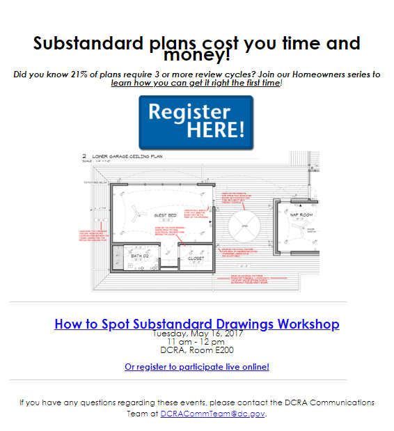 The email invitation that we redesigned to be simple and focus on costs of missing the workshop. (Credit: DCRA)