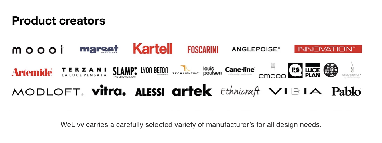 WeLivv carries a carefully selected variety of manufacturer's for all design needs.