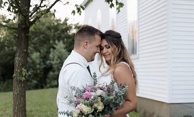 There is no fear in love. But perfect love drives out fear, because fear has to do with punishment. The one who fears is not made perfect in love. We love because he first loved us.  1 John 4:18-19 . Flowers: @maziesflowers  Dress: @wendysbridalfw  Photographer: @burmanphotography  Venue: Bearcreek Farms . #screengrab #weddingvideography #weddingvideo #videographer #fortwaynewedding #smallbusinessowner