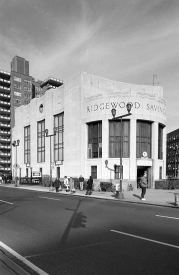 Ridgewood Savings Bank, 1995. Photo by Edmund Vincent Gillon. Museum of the City of New York.