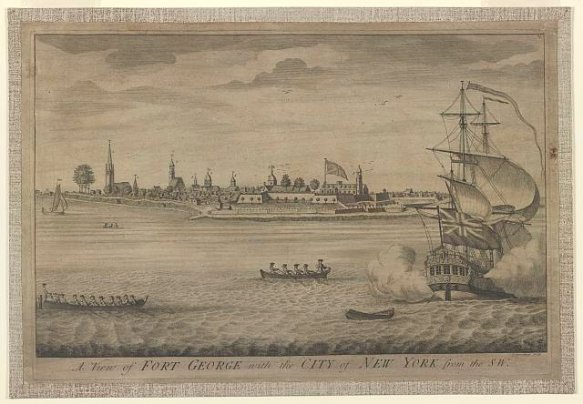 "John Carwitham, ""A View of Fort George with the City of New York from the SW"" (1736). Library of Congress."
