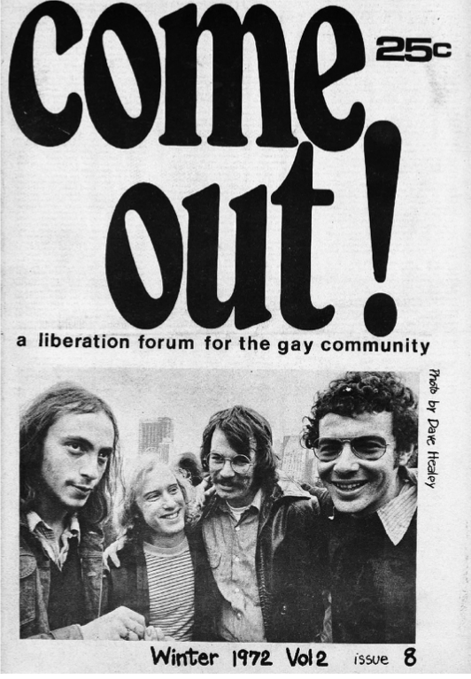 The Winter 1972 issue of Come Out! Perry Brass is pictured at bottom right.