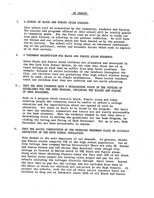 """Unknown, """"Five Demands,"""" p. 1, 1969. CUNY Digital History Archive."""