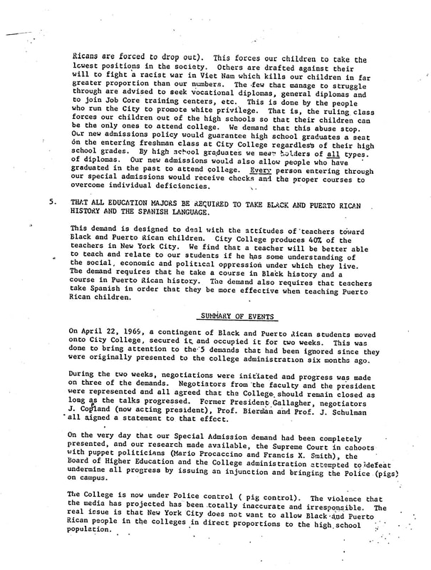 """Unknown, """"Five Demands,"""" p. 2, 1969. CUNY Digital History Archive."""