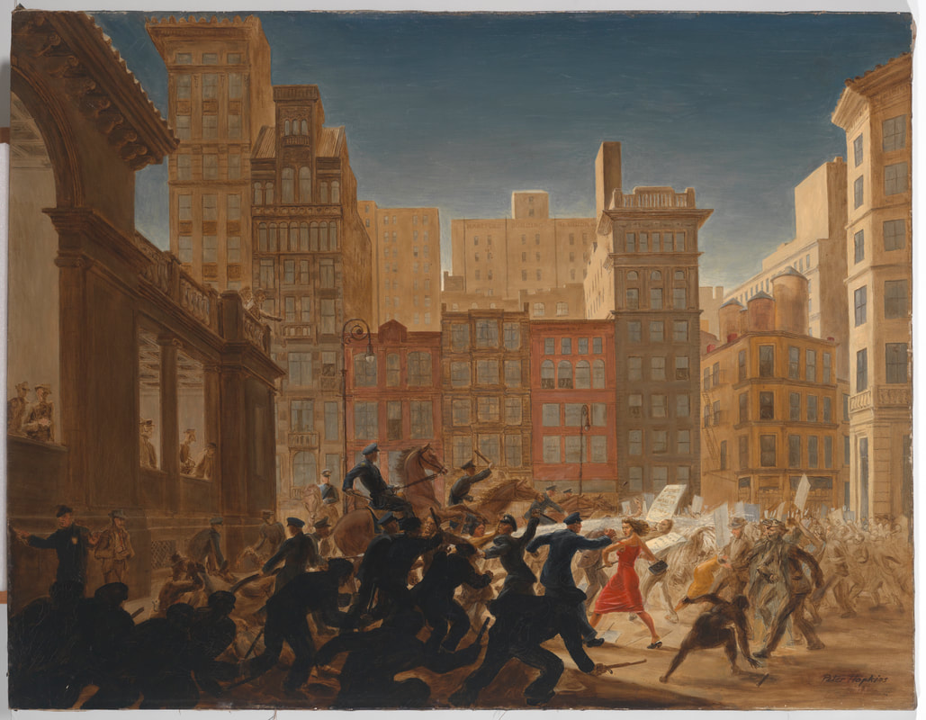 """""""Riot at Union Square."""" Peter Hopkins, 1947. Oil on Canvas. Museum of the City of New York. Gift of Peter Hopkins. 66.82"""