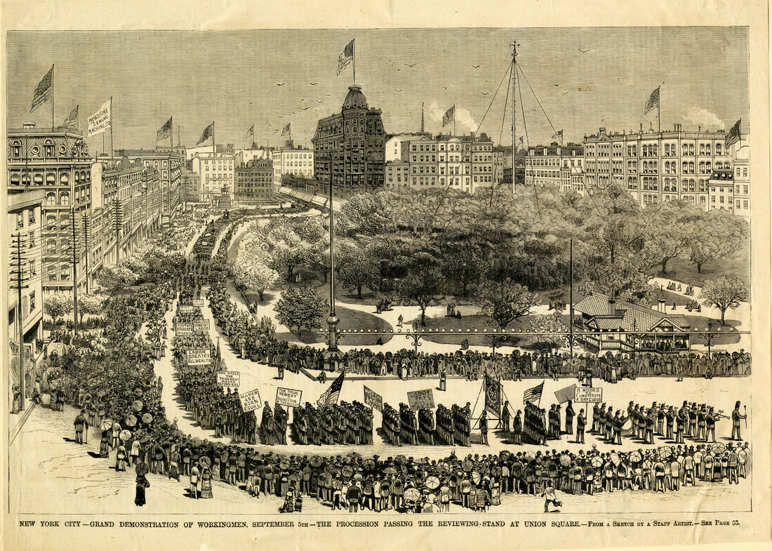 New York City—Grand Demonstration of Workingmen, Sept 5th—The Procession Passing the Reviewing Stand at Union-Square. Published in Frank Leslie's Illustrated Newspaper, September 16, 1882
