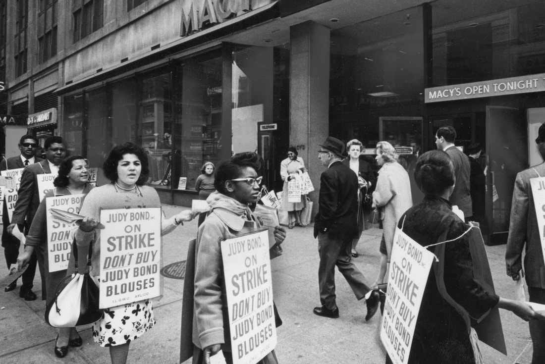 Picketing ILGWU members outside Macy's department store urge shoppers not to buy Judy Bond blouses, 1965. Courtesy Kheel Center for Labor-Management Documentation & Archives, Cornell University