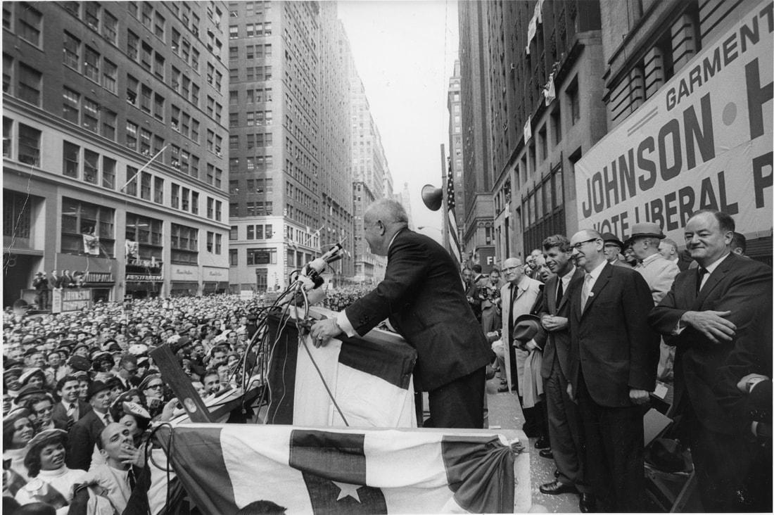 ILGWU President David Dubinsky and Liberal Party leader Alex Rose rally voters for LBJ, RFK, and Hubert Humphrey, Seventh Avenue. Burton Berinsky, 1964. Courtesy Kheel Center for Labor-Management Documentation & Archives, Cornell University