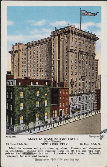 Hotel Martha Washington Postcard, 1920. Museum of the City of New York.