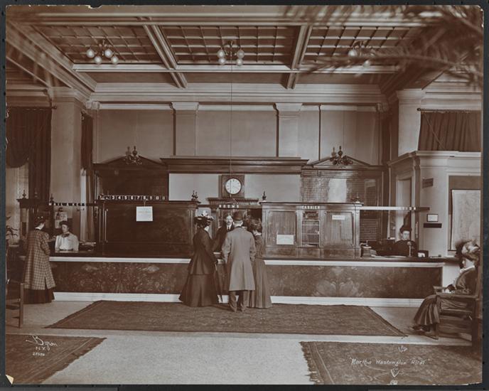 Lobby of the Hotel Martha Washington, 1903. Byron Company. Museum of the City of New York.