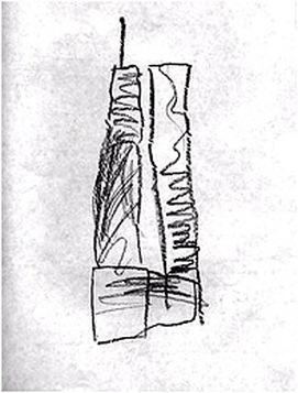 A seven year old's pencil rendering of the WTC. 2000.