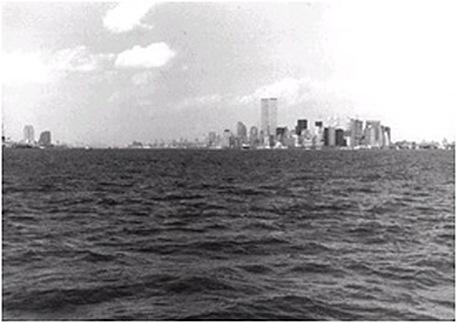 Lower Manhattan skyline from Staten Island Ferry, 1995. Photo: Eric Darton