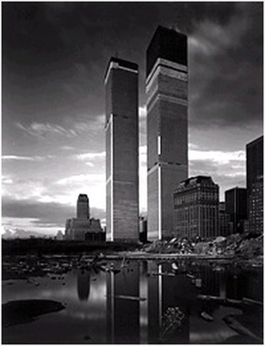 When Minoru Yamasaki was appointed chief architect of the WTC, he commissioned Todd Watts to photograph the evolution of his career-capping project. The images that Watts created, among them World Trade Center 3, 1972, reveal a chilling portrait of architectural hubris at its most aestheticized and unremitting.
